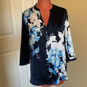 Navy floral button front blouse